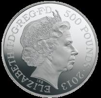 500 pounds 2013 аверс серебряной коронационной монеты 1 кг