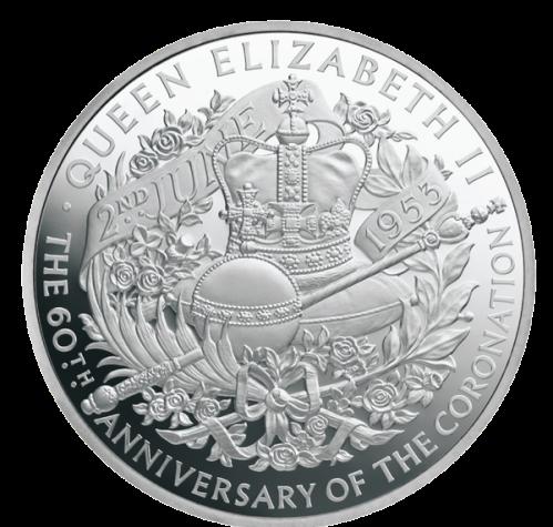 Серебряная 1 кг монета к 60-летию коронации Елизаветы II