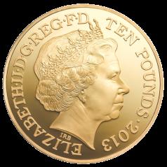 Аверс золотой коронационной монеты 5 унций 2013 года