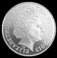 Аверс серебряной 5-унцевой Коронационной монеты 2013 года