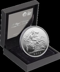 """Серебряная монета """"Соверен"""" 2013 к рождению наследника британского престола (в футляре)"""