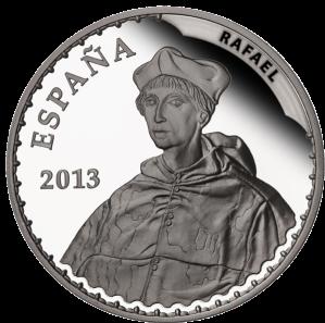 """Рафаэль """"Портрет кардинала"""" (1510-1511) серебряная монета Испании 10 евро 2013 г."""