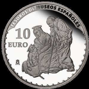 """Рафаэль """"Святое семейство с ягнёнком"""" (1507) серебряная монета Испании 10 евро 2013 г."""