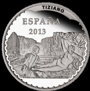 """""""Венера с органистом и собачкой"""" (1550) Тициана на серебряной монете 10 евро Испания 2013"""