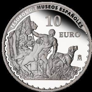 """Венера и Адонис"" (1554) Тициана на серебряной монете 10 евро Испания 2013"