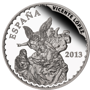"""""""Сон Св.Иосифа"""" (1805) Висенте Лопеса на серебряной монете Испании 10 евро 2013 г."""