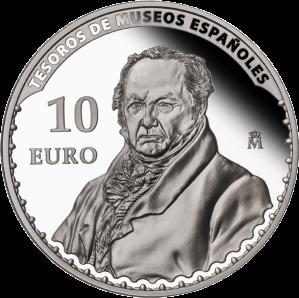 """""""Портрет Франциско Гойи"""" (1826) работы Висенте Лопеса на серебряной монете Испании 2013 г."""
