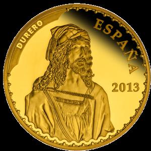 """Альбрехт Дюрер """"Автопортрет"""" (1498) на реверсе золотой монеты Испании 2013 г., номинал 400 евро"""