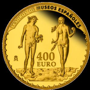 """Аверс золотой монеты """"Альбрехт Дюрер"""" 400 евро Испания: """"Адам и Ева"""""""