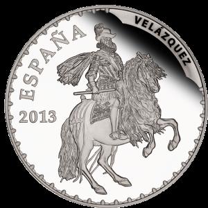 """""""Конный портрет короля Филиппа III"""" (1634-1635) Диего Веласкеса на серебряной монете Испании 50 евро 2013 г."""