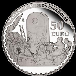 """""""Пряхи или Миф о Арахии"""" (1657) Диего Веласкеса на серебряной монете 50 евро Испания 2013"""