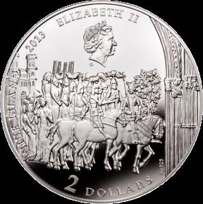 Аверс серебряной монеты Священный Грааль 2 доллара 2013