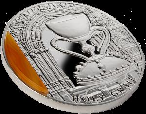 """Серебряная монета """"Святой Грааль"""" 2013 с агатом"""