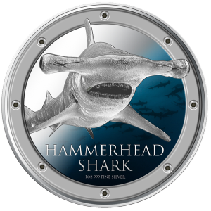 Hammerhead Shark Silver Coin Reverse