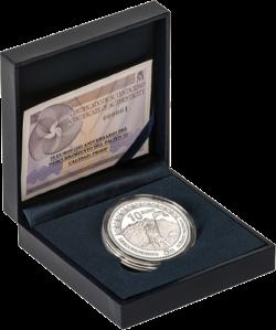 """Серебряная монета 10 евро """"Нуньес де Бальбова, первооткрыватель Тихого океана"""" Испания, в футляре с сертификатом"""
