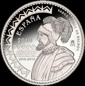 """Серебряная монета """"Васко Нуньес де Бальбоа, первооткрыватель Тихого океана"""" 10 евро 2013 Испания"""
