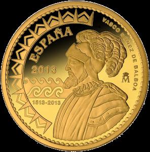 Реверс золотой монеты Бальбоа первооткрыватель Тихого океана 200 евро Испания