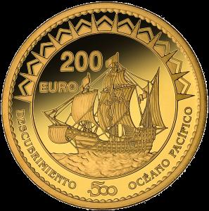 Золотая монета 200 евро Бальбоа первооткрыватель Тихого океана, Испания
