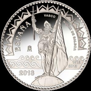 500-летие открытие Тихого океана Нуньесом де Бальбоа, 50 евро серебряная монета Испании
