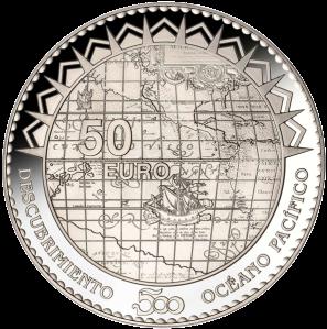 """Аверс серебряной монеты 50 евро """"Бальбоа, открывший Тихий океан"""" 2013 Испания"""