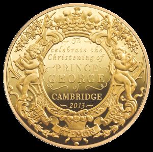 Золотая монета 5 фунтов в честь крещения наследника британского престола