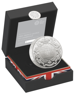 Серебряная монета в честь крещения наследника британского престола 5 фунтов пидфорт в футляре