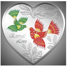 """Серебряная монета-сердце """"Вечная любовь"""" Острова Кука 2013"""