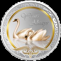 """Серебряная монета """"Всегда с тобой"""" с позолотой Токелау 2013"""