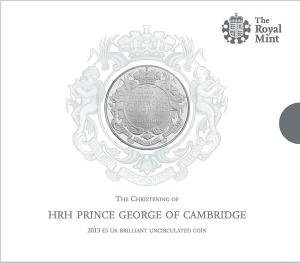 Медно-никелевая крестильная монета 5 фунтов 2013