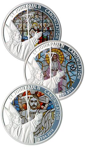 Канонизация Ивана Павла II посеребрённые медные монеты Того