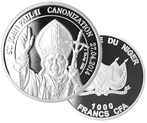 Canonization_1ozAg монета 999 пробы Нигер 2014