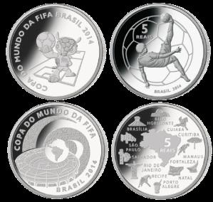 Серебряные монеты Бразилии Чемпионата мира по футболу 2014