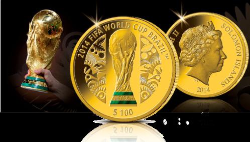 Золотая монета с малахитом Чемпионата мира по футболу 2014