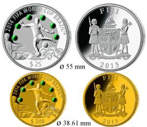 Монеты с малахитом Чемпионата мира по футболу 2014