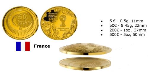 Монеты Франции Чемпионата FIFA 2014