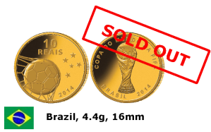 Золотая монета Бразилии Чемпионат мира по футболу 2014