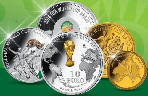 Золотые и серебряные монеты FIFA-WC-2014