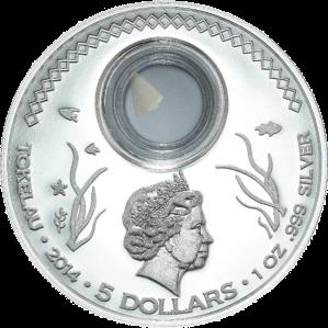 """Аверс серебряной монеты """"Большая белая акула"""" 2015 Токелау 5 новозеландских долларов"""