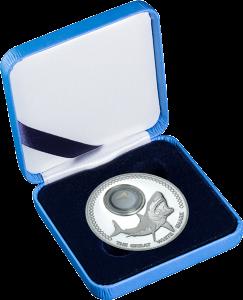 """Серебряная монета Токелау """"Большая белая акула"""" 2015 в футляре"""