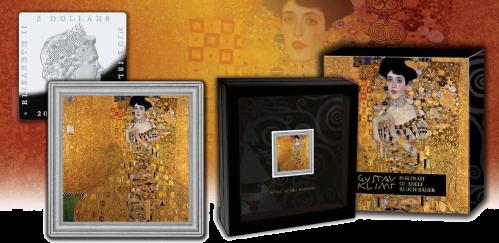 """Серебряная монета """"Густав Климт. Портрет Адели Блох-Бауэр I"""" 2 доллара Ниуе Монетный двор Польши 2015"""