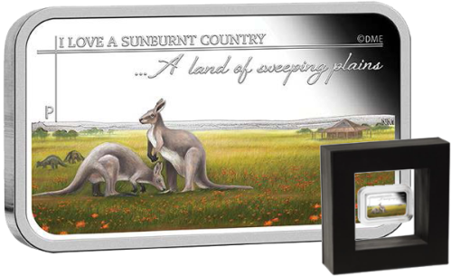 "Серебряная монета ""Страна бескрайних равнин"" 1 австралийский доллар 2015 Perth Mint"