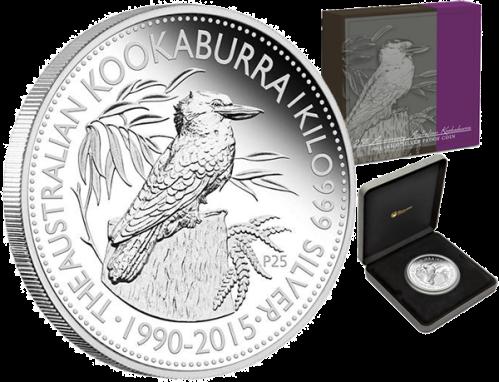 """1 кг серебряная монета """"25-летие выпуска монет """"Кукабарра"""" 30 австралийских долларов 2015 Perth Mint"""