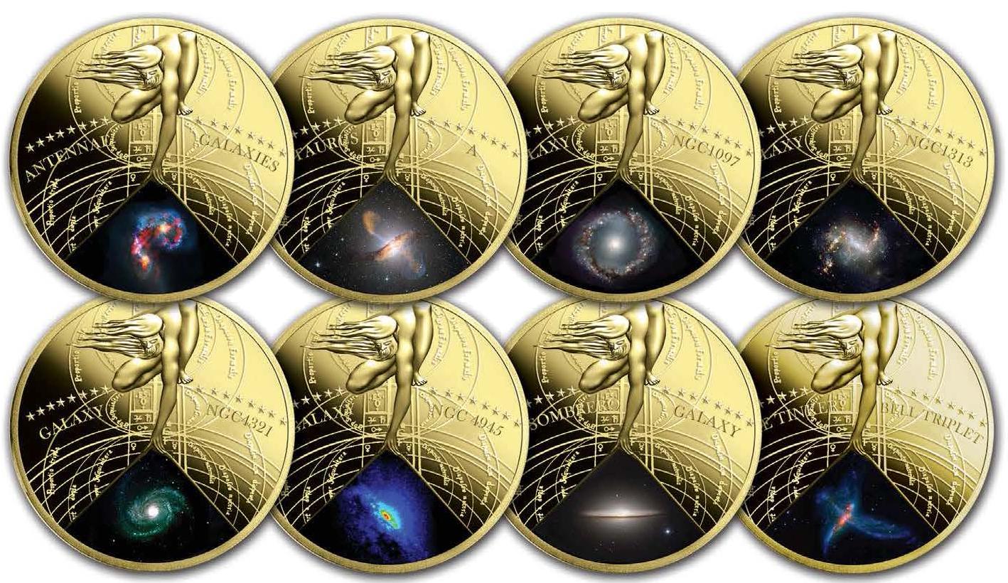"""Позолоченные латунные монеты """"Самые красивые галактики"""""""