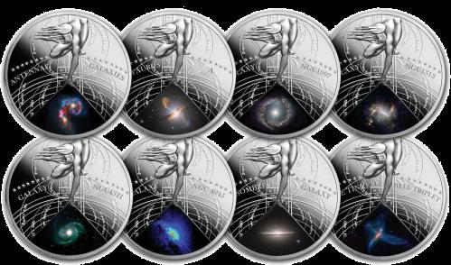 """Серебряные монеты серии """"Самые красивые галактики"""" 2015 9х1 доллар Ниуе Монетный двор Польши"""