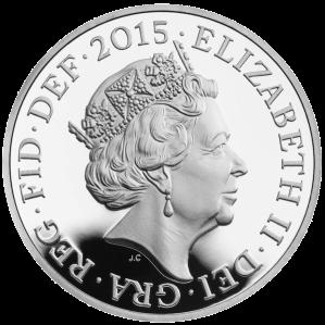 Новый профильный портрет Елизаветы II на аверсе серебряной монеты 2015 пруф