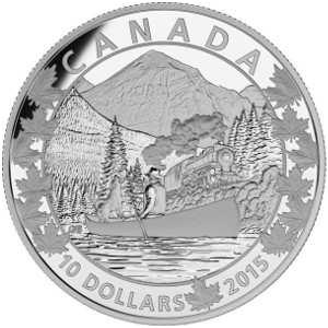 """На каноэ по Канаде 10 долларов 2015 серебряная монета """"Великолепные горы"""""""