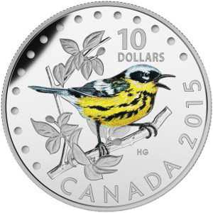 Певчие птицы Канады 2015 серебряная монета 10 долларов