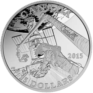 """Серебряная монета """"Исследование космоса"""" 15 долларов 2015 Канада"""
