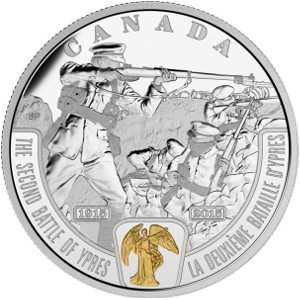"""Серебряная монета """"Битва под Ипром"""" Канада 2015"""