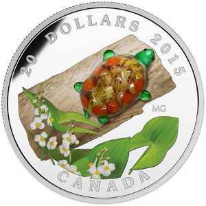 """Серебряная монета """"Черепаха с цветком дерева"""" 2015 Канада 20 долларов  муранское стекло"""
